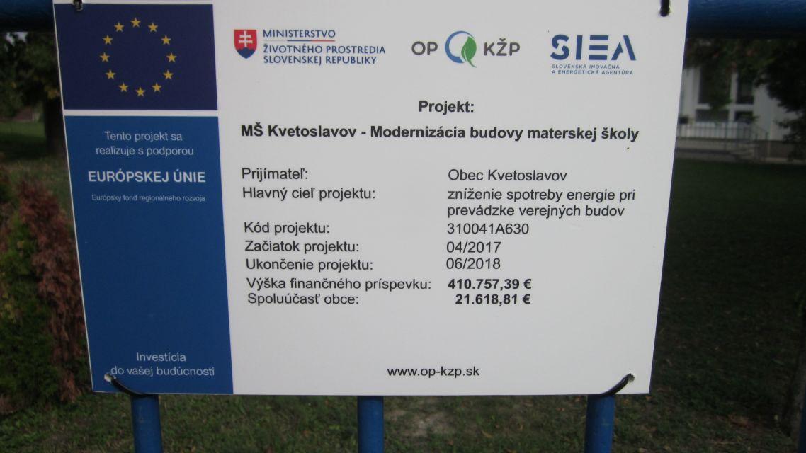 MŠ Kvetoslavov - Modernizácia budovy materskej školy