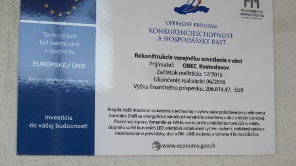 Rekonštrukcia a modernizácia verejného osvetlenia v obci Kvetoslavov